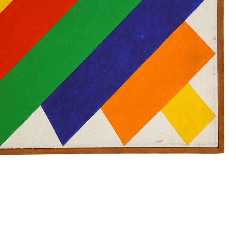 Victor Burgin Abstract Painting, Acrylic on Canvas, Geometric, Signed In Good Condition For Sale In New York, NY