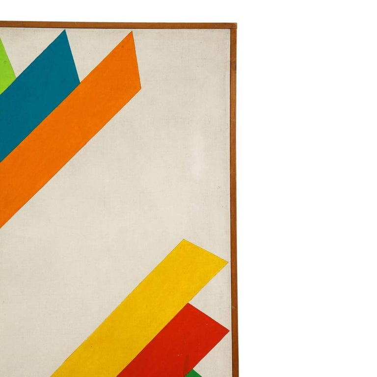 Mid-20th Century Victor Burgin Abstract Painting, Acrylic on Canvas, Geometric, Signed For Sale