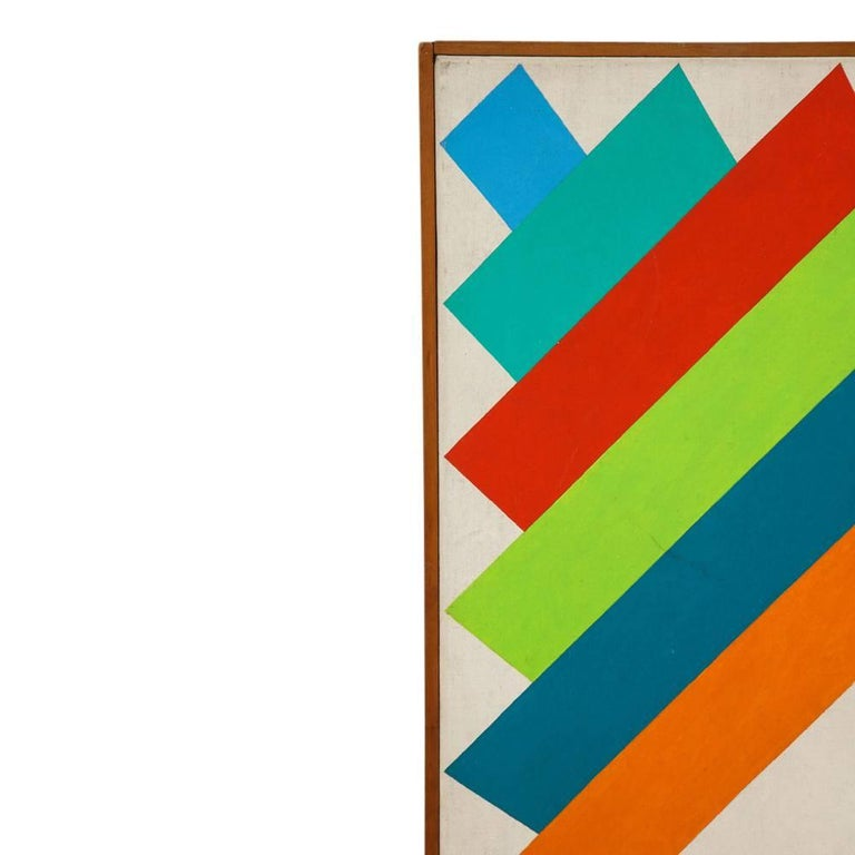 Victor Burgin Abstract Painting, Acrylic on Canvas, Geometric, Signed For Sale 1