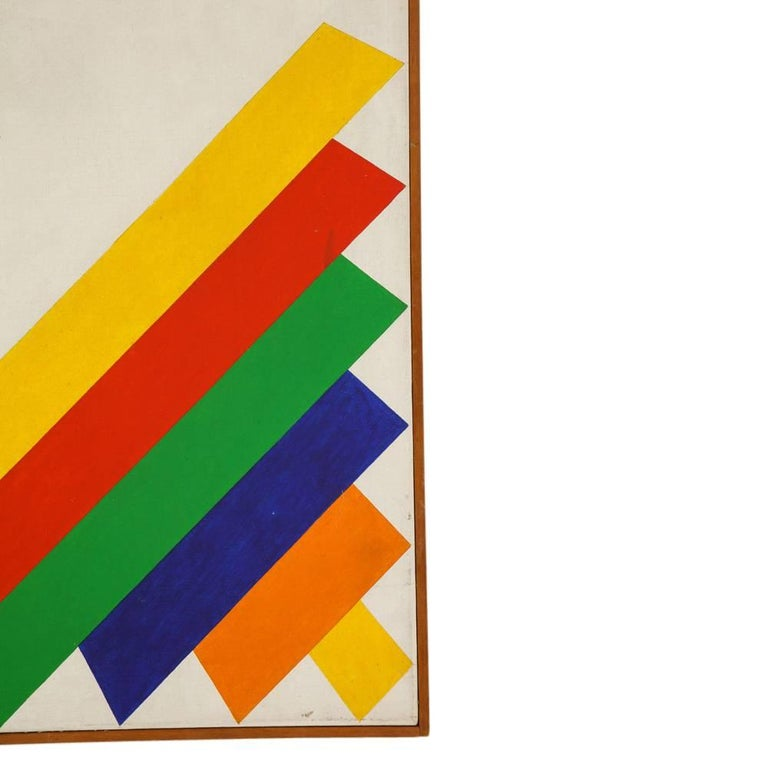 Victor Burgin Abstract Painting, Acrylic on Canvas, Geometric, Signed For Sale 2