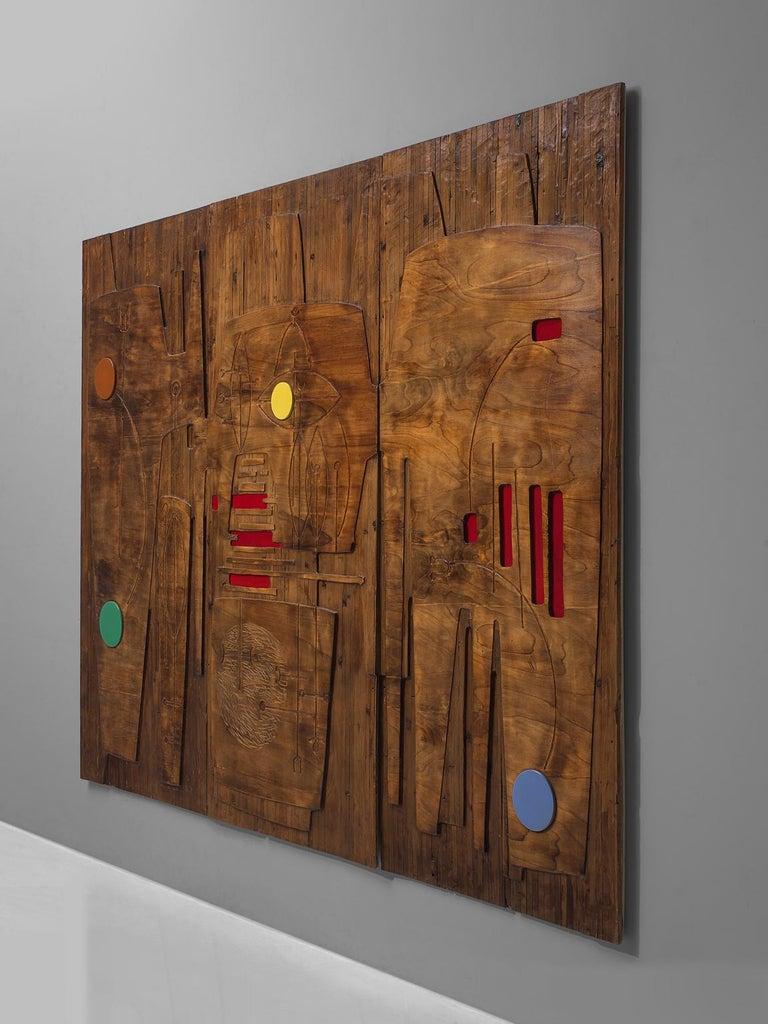 Mid-Century Modern Victor Cerrato Unique Grand Wooden Wall Panel For Sale