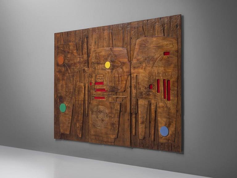 Italian Victor Cerrato Unique Grand Wooden Wall Panel For Sale