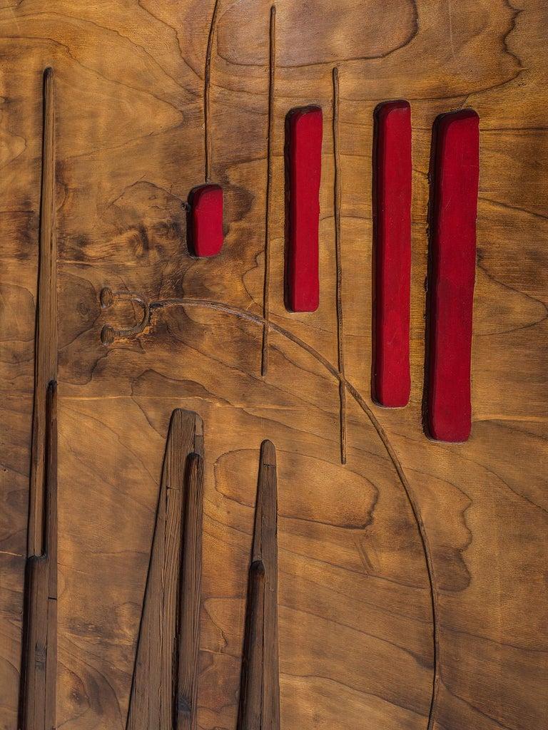 Mid-20th Century Victor Cerrato Unique Grand Wooden Wall Panel For Sale