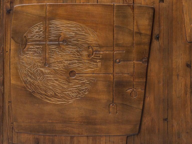 Ceramic Victor Cerrato Unique Grand Wooden Wall Panel For Sale