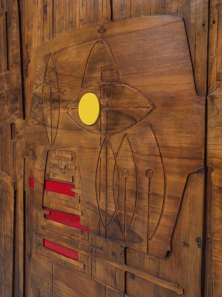 Victor Cerrato Unique Grand Wooden Wall Panel For Sale 1