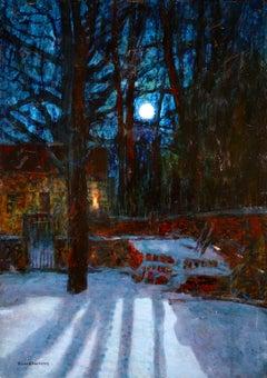 A Winter's Night - Post Impressionist Oil, Snowy Landscape by Victor Charreton