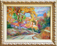 Automne A Enval - 19th Century Oil, Trees & Houses Autumn Landscape by Charreton
