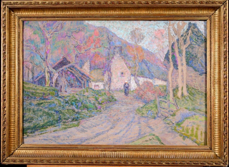 Autumn in the Village - Impressionist Oil, Figure in Landscape, Victor Charreton - Gray Figurative Painting by Victor Charreton