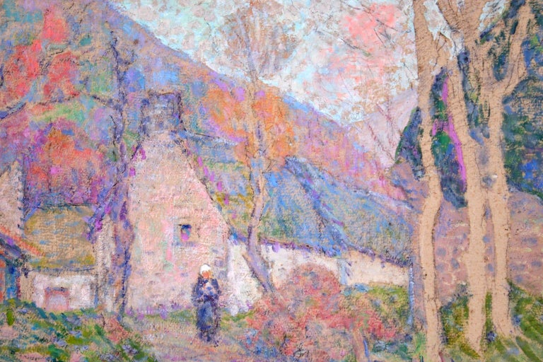 Autumn in the Village - Impressionist Oil, Figure in Landscape, Victor Charreton For Sale 1