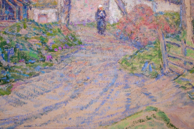 Autumn in the Village - Impressionist Oil, Figure in Landscape, Victor Charreton For Sale 3