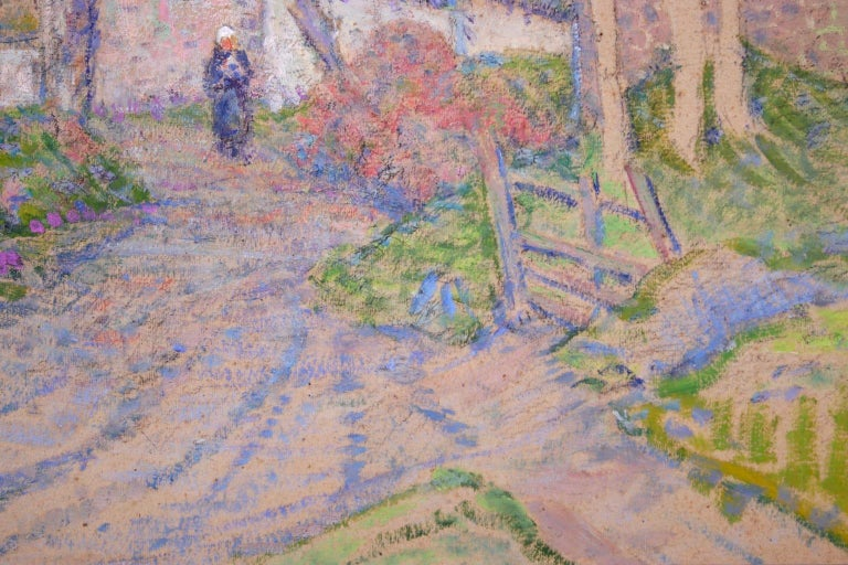 Autumn in the Village - Impressionist Oil, Figure in Landscape, Victor Charreton For Sale 4
