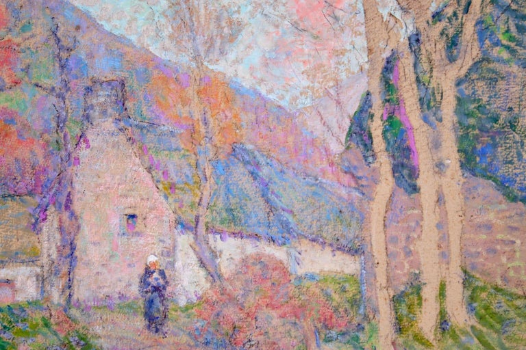 Autumn in the Village - Impressionist Oil, Figure in Landscape, Victor Charreton For Sale 5