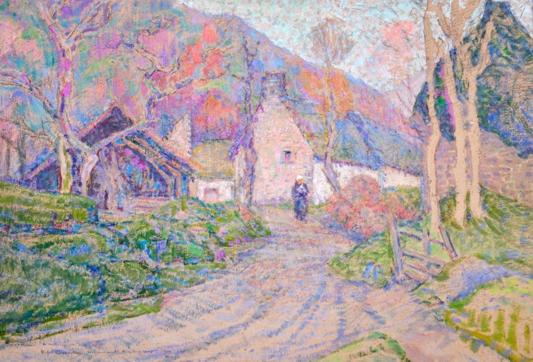 Autumn in the Village - Impressionist Oil, Figure in Landscape, Victor Charreton - Painting by Victor Charreton