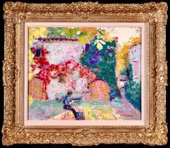 Courtyard - Post Impressionist Oil, Figure in Landscape by Victor Charreton