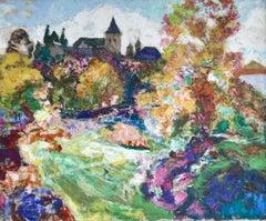 Dans la Jardin de l'Eglise - 19th Century Oil, Church in Landscape by Charreton