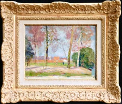 Figures in the Woods - 19th Century Oil, Trees & Houses Landscape by V Charreton