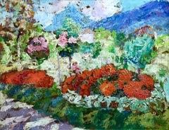 Flower Garden, Early 20th Century Oil, Post-Impressionist Landscape by Charreton