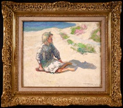 Girl at Beach - Post Impressionist Oil, Figure in Landscape by Victor Charreton
