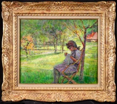 Girl Sewing - Post Impressionist Oil, Figure in Landscape by Victor Charreton