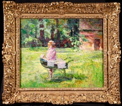 Girl with Pram - Post Impressionist Oil, Figure in Landscape by Victor Charreton