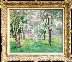 In the Orchard - 19th Century Oil, Figure under Blossom Landscape by V Charreton