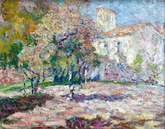 Jardin à côté de l'Eglise - 20th Century Oil, Church in Landscape by V Charreton