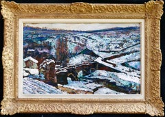La Neige - 19th Century Oil, Bridge in Snow Winter Landscape by Victor Charreton