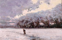 La Neige - Early 20th Century Oil, Figure in Winter Snow Landscape by Charreton