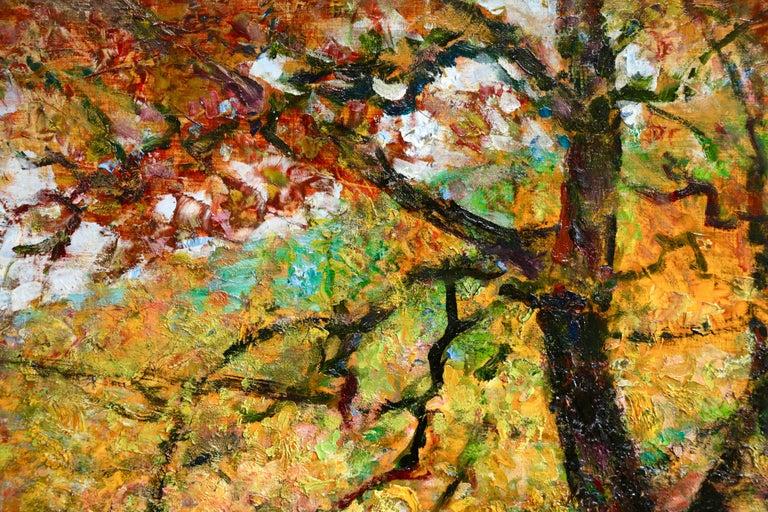L'automne - 19th Century Oil, Figure in Autumn Landscape by Victor Charreton For Sale 1