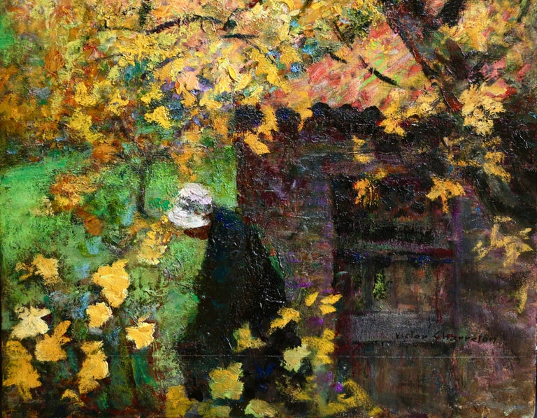 L'automne - 19th Century Oil, Figure in Autumn Landscape by Victor Charreton For Sale 2