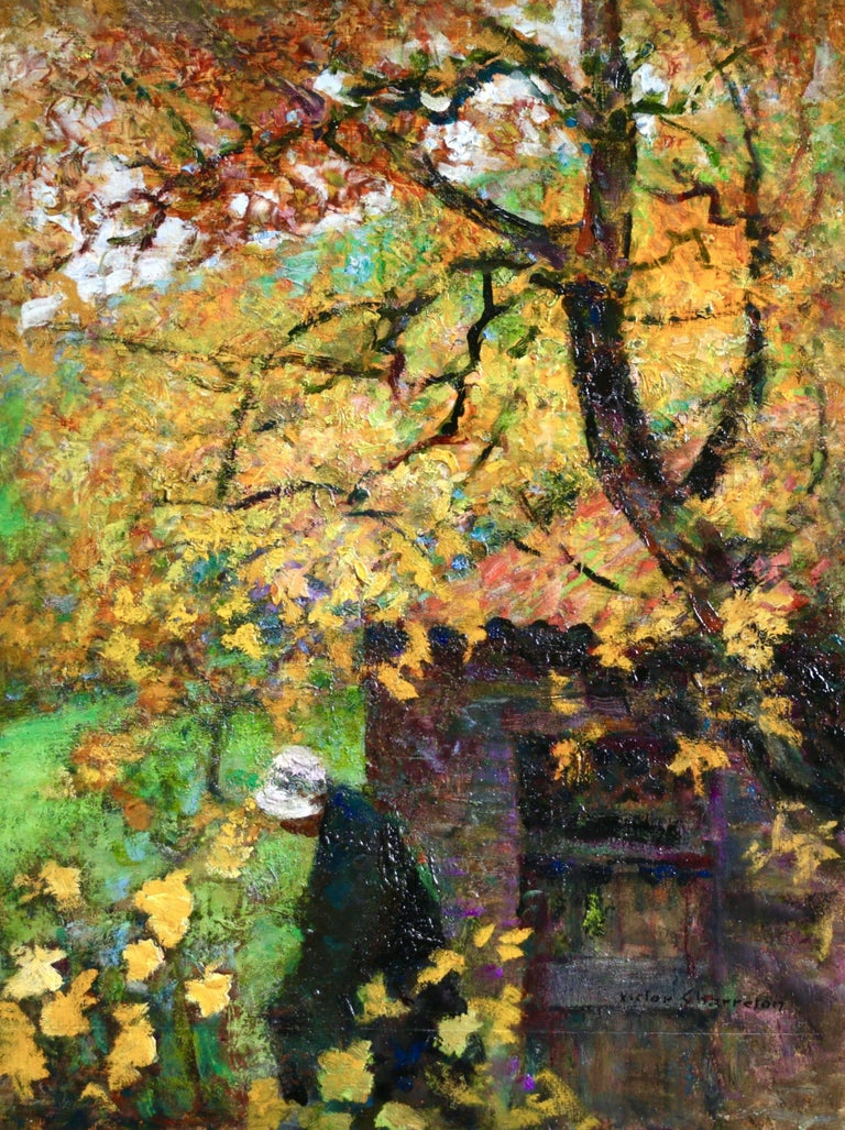 An enchanting oil on panel circa 1910 by Victor Charreton depicting a woman under a tree in a landscape. The autumnal colours of the painting are absolutely beautiful. Signed lower right. This piece is not framed but a suitable frame can be sourced