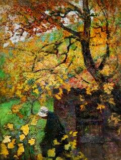 L'automne - Impressionist Oil, Figure in Autumn Landscape by Victor Charreton
