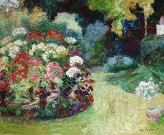 Le Jardin Fleuri - 19th Century Oil, Flowers in Garden Landscape by V Charreton