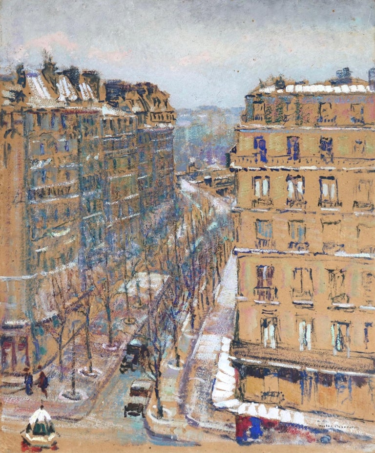 A wonderful oil on board by impressionist painter Victor Charreton depicting a view of the Boulevard de Clichy in winter. The street and buildings dusted with snow and the trees that line the street are bare. Signed lower right.