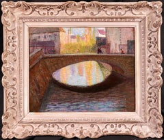 Reflections - 19th Century Oil, Figures on village bridge by Victor Charreton