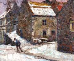 Village in the Snow - Post Impressionist Oil, Figure in Landscape by V Charreton
