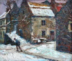 Village sous la neige - 20th Century Oil, Figures in Snow Landscape by Charreton