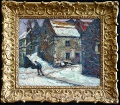 Village sous la neige - 20th Century Oil, Figure in Snowy Landscape by Charreton