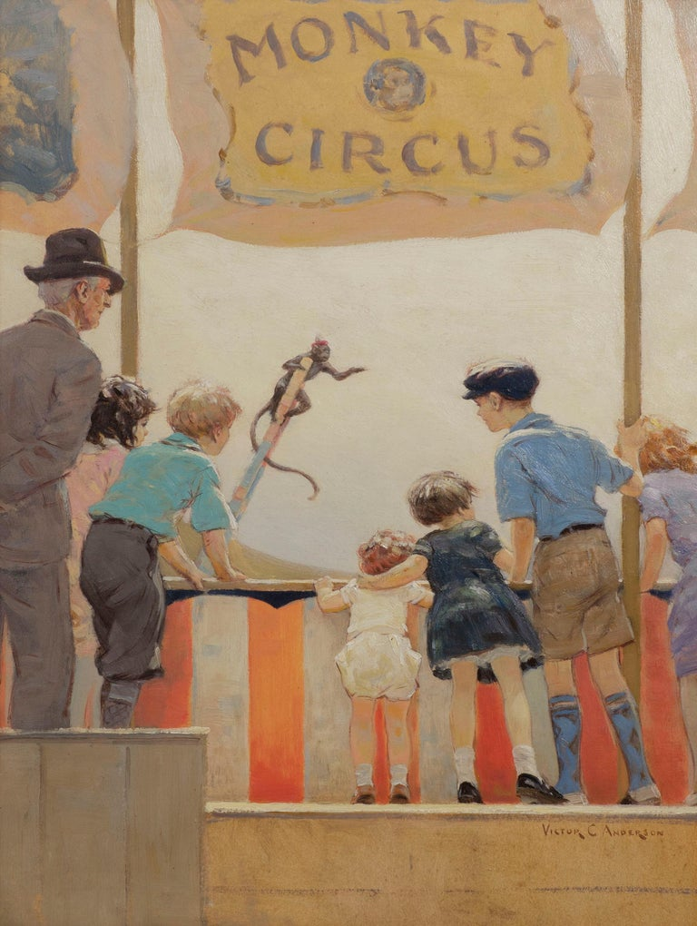 Monkey Circus - Painting by Victor Coleman Anderson