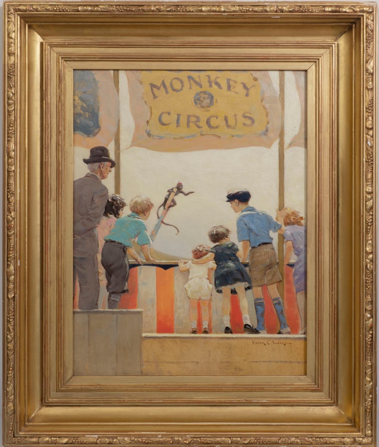 Victor Coleman Anderson Figurative Painting - Monkey Circus