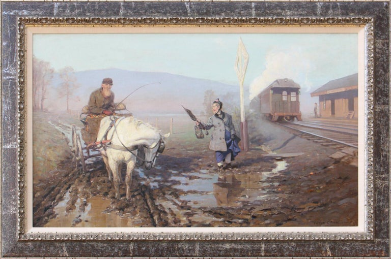 Muddy Train Station - Painting by Victor Coleman Anderson