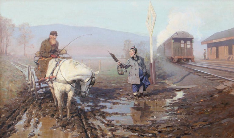 Victor Coleman Anderson Landscape Painting - Muddy Train Station