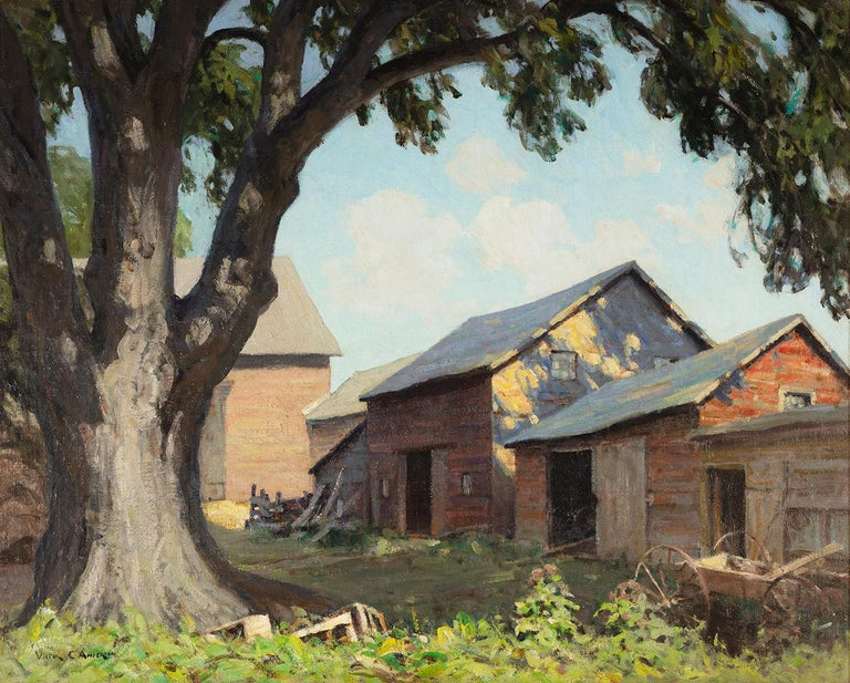 Old Farm Sheds (Spring Shadows) - Painting by Victor Coleman Anderson