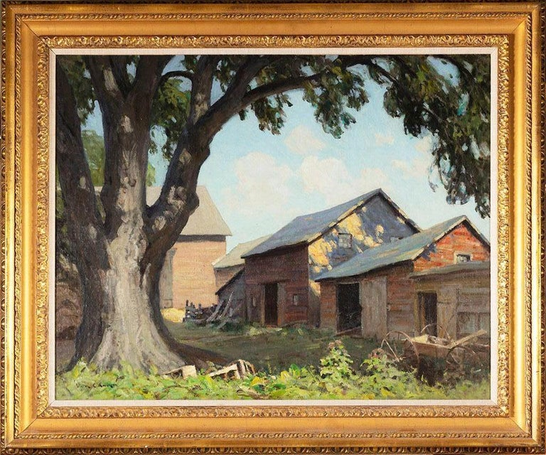 Victor Coleman Anderson Landscape Painting - Old Farm Sheds (Spring Shadows)