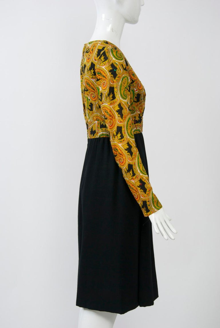 Black Victor Costa 1970s Paisley/Knit Dress For Sale
