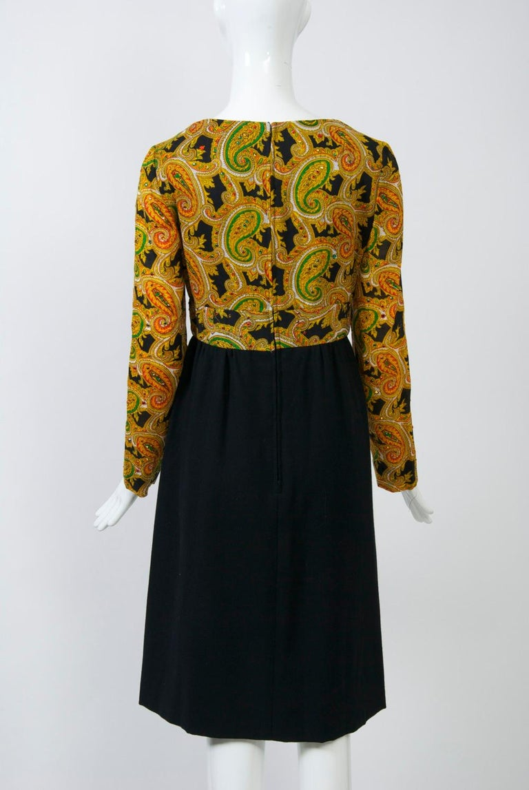 Victor Costa 1970s Paisley/Knit Dress In Good Condition For Sale In Alford, MA