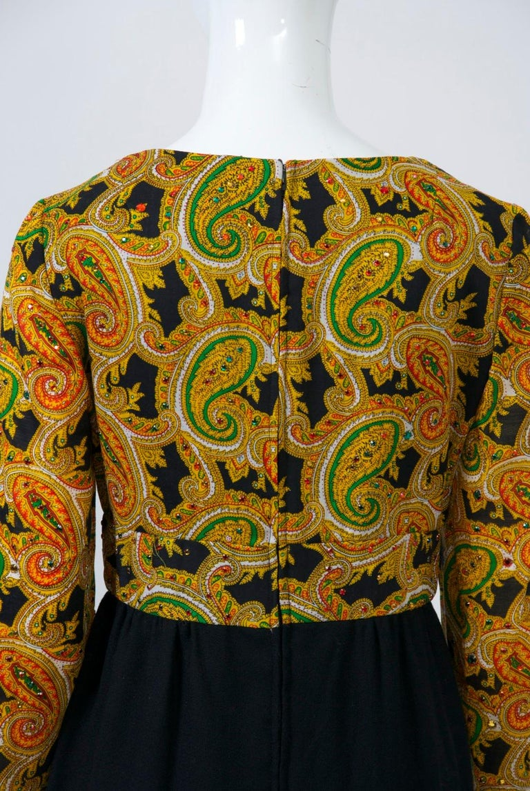 Women's Victor Costa 1970s Paisley/Knit Dress For Sale