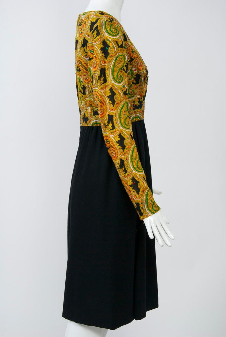 Victor Costa 1970s Paisley/Knit Dress For Sale 1