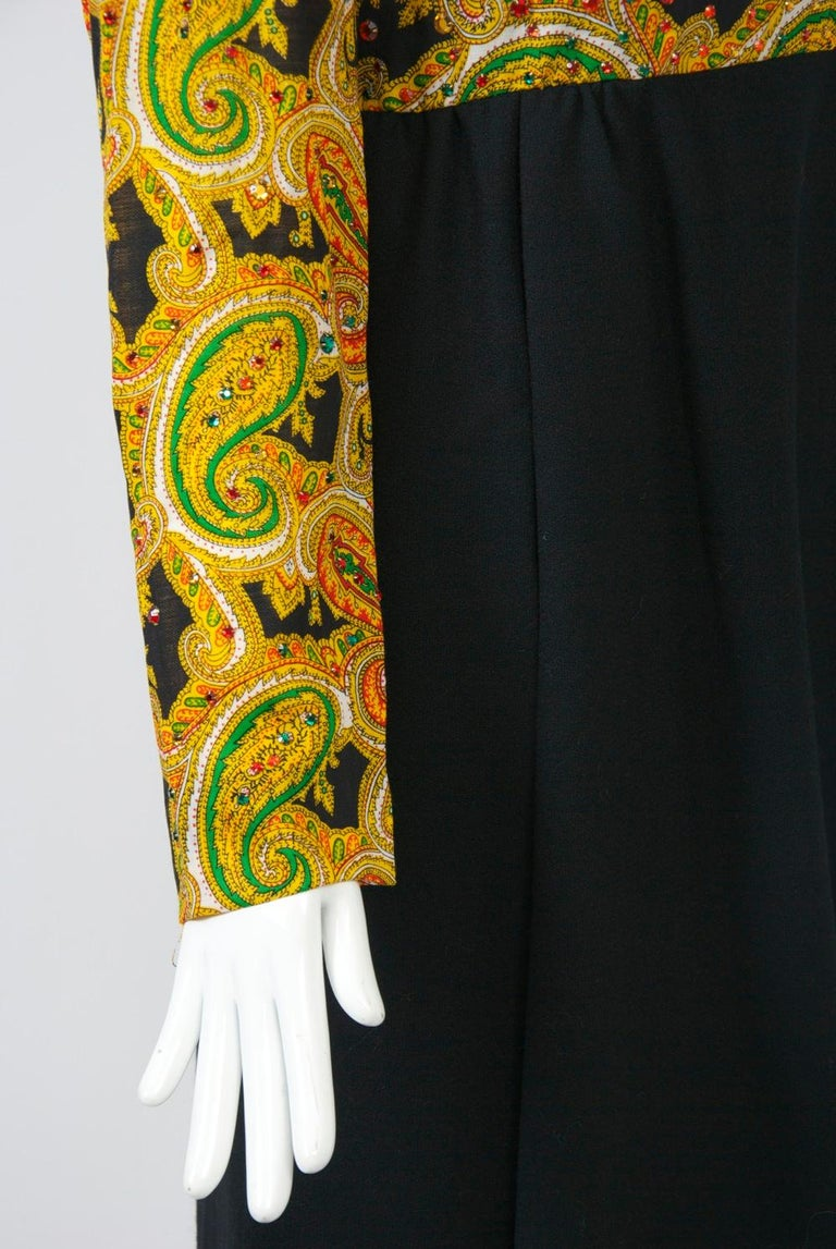 Victor Costa 1970s Paisley/Knit Dress For Sale 3