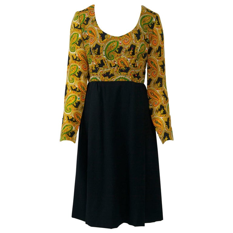 Victor Costa 1970s Paisley/Knit Dress For Sale